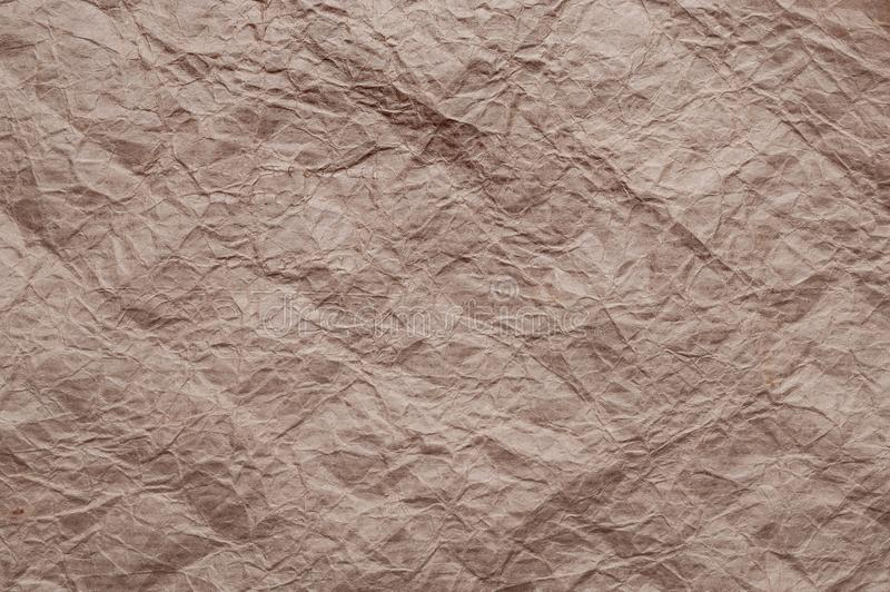 Crumpled kraft paper. Texture crumpled recycled brown paper stock photography