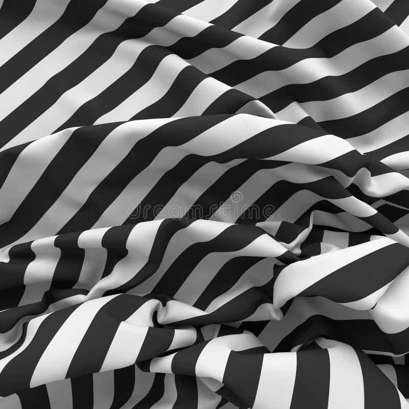 Crumpled listrou o fundo de matéria têxtil ilustração stock