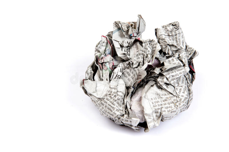 Crumpled newspaper. Isolated on white background royalty free stock image