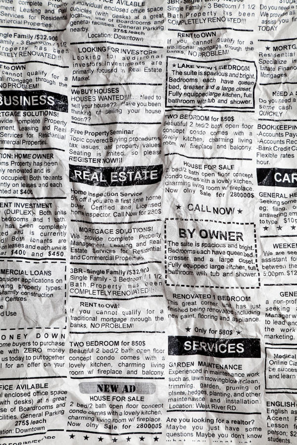 Crumpled Newspaper. Fake Classified Ad, Crumpled; Newspaper, business concept royalty free stock image