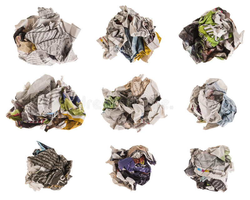 Crumpled newspaper set. Collection of lump and crumpled newspaper isolated on white background. newspaper in this set is thai newspaper stock photo
