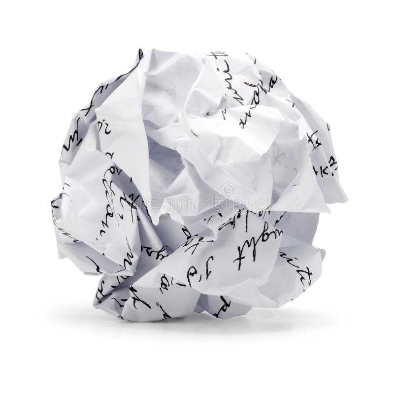 Free Crumpled Of Free Hand Script Junk Paper In Ball Shape Royalty Free Stock Image - 34490956