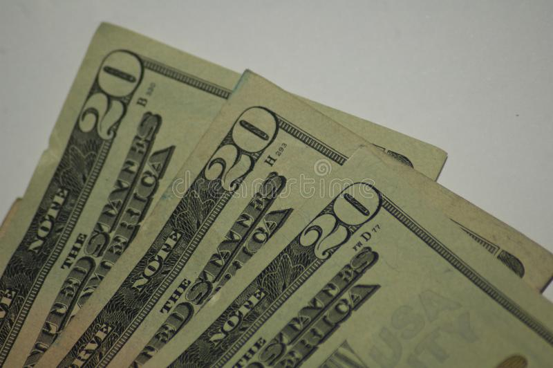 Crumpled old paper currency close on money twenty dollar bills stock photos