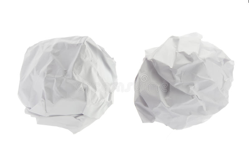 Crumpled paper ball on isolated on white background. stock photo