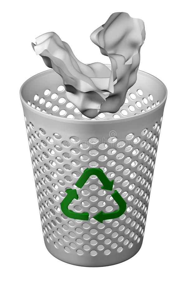 Crumpled paper fall in wastepaper basket with recycling symbol. 3D rendering. royalty free illustration