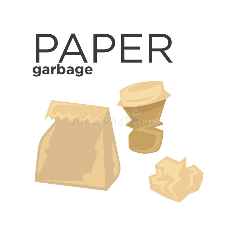 Crumpled paper garbage in rubbish bin. Recycle trash concept vector illustration