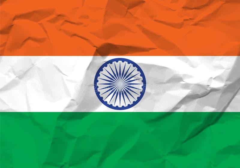 Crumpled paper India flag stock illustration