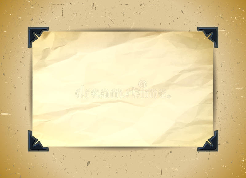 Crumpled paper with photo corners. In the album stock illustration