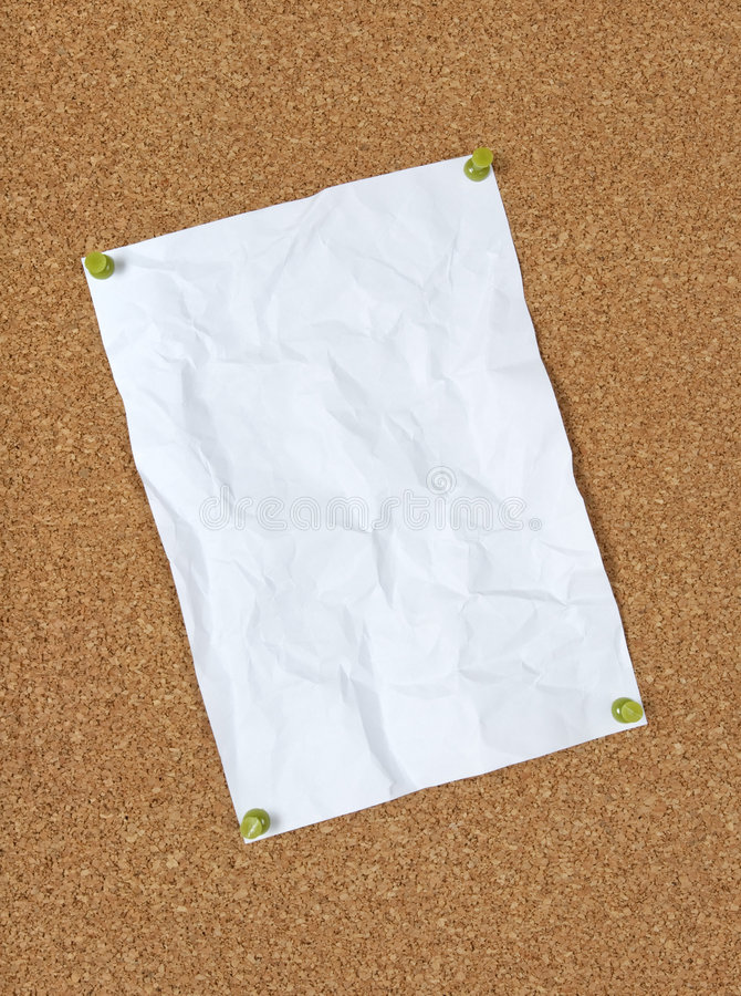 Crumpled Paper Pinned To Corkboard Royalty Free Stock Images