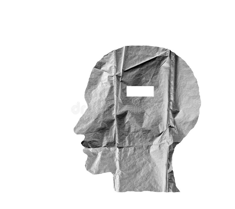 Crumpled paper shaped as a human head and minus sign on white. Crumpled paper shaped as a human head and minus sign on white background. Negative and minus sign royalty free stock images