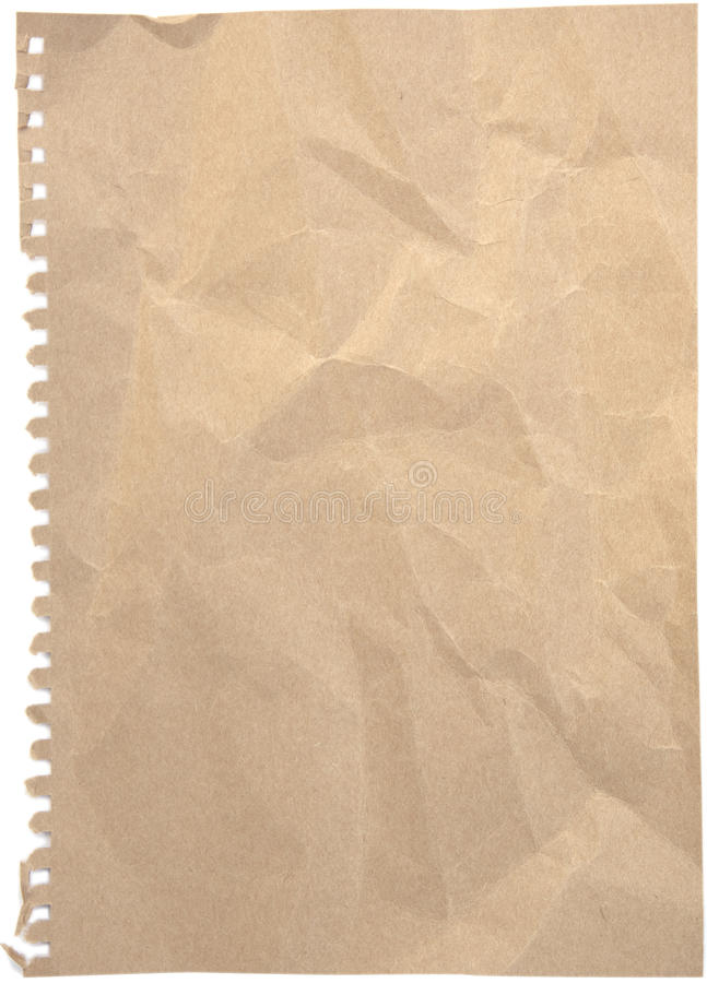 Crumpled paper sheet isolated with holes. Blank crumpled and tinted notepaper sheet with ripped holes isolated on white background royalty free stock photos