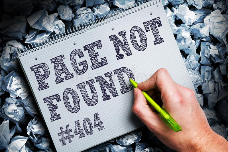 Crumpled paper symbolizing different solutions and the phrase `404 - Page not found`. Crumpled paper symbolizing different solutions and the phrase `Page not royalty free stock image
