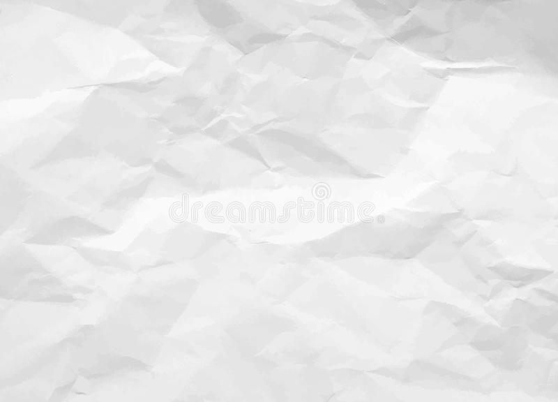 Crumpled paper texture. White battered paper background. White empty leaf of crumpled paper. Torn surface of letter blank stock illustration
