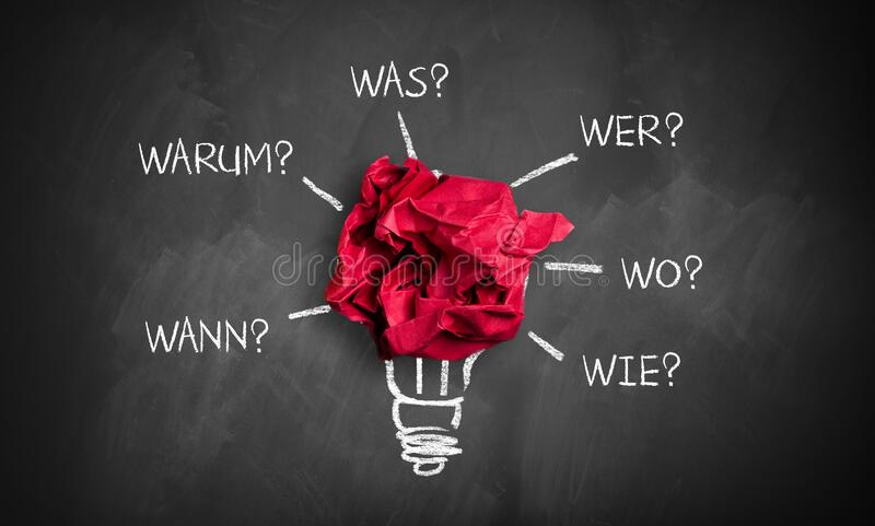 Crumpled paper with the words `when, why, what, who, where, how` in German. Crumpled paper on a blackboard with the words `when, why, what, who, where, how` in royalty free stock image