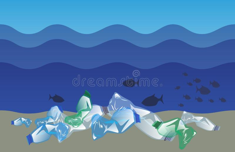 Crumpled plastic bottles at the bottom of the ocean under waves, plastic pollution concept vector illustration
