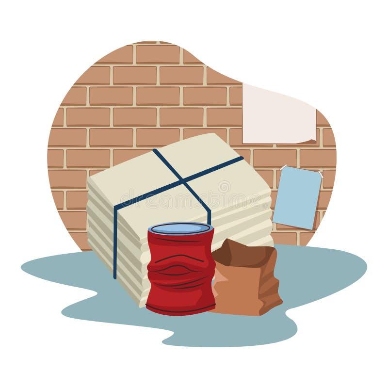 Crumpled podem e os desenhos animados do ícone do papel ilustração do vetor