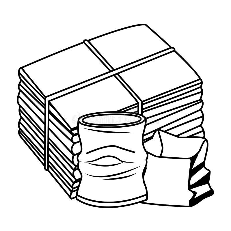 Crumpled podem e os desenhos animados do ícone do papel em preto e branco ilustração do vetor