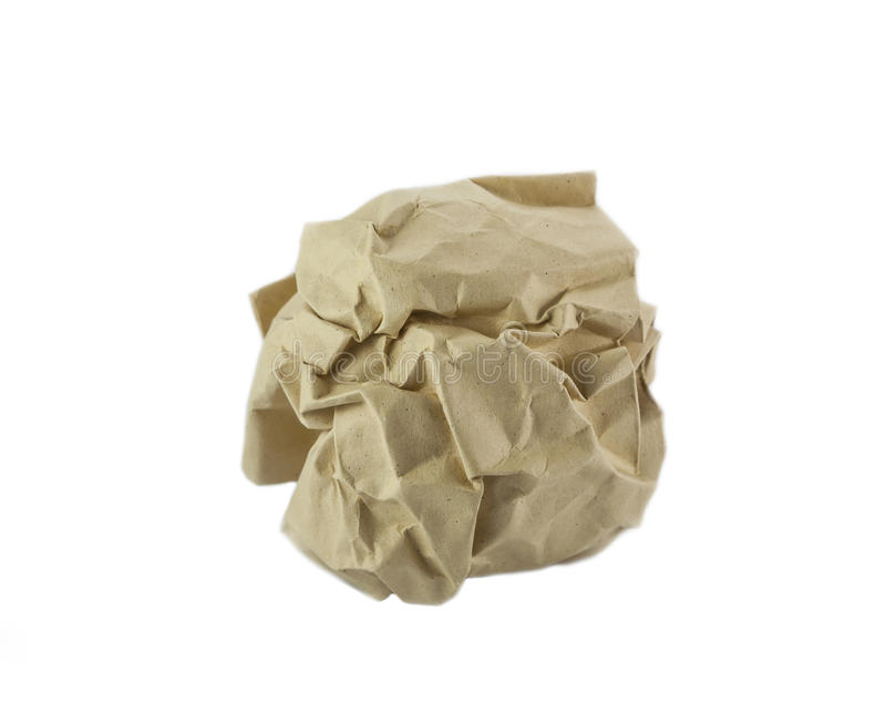 Crumpled reciclou a bola de papel fotografia de stock royalty free