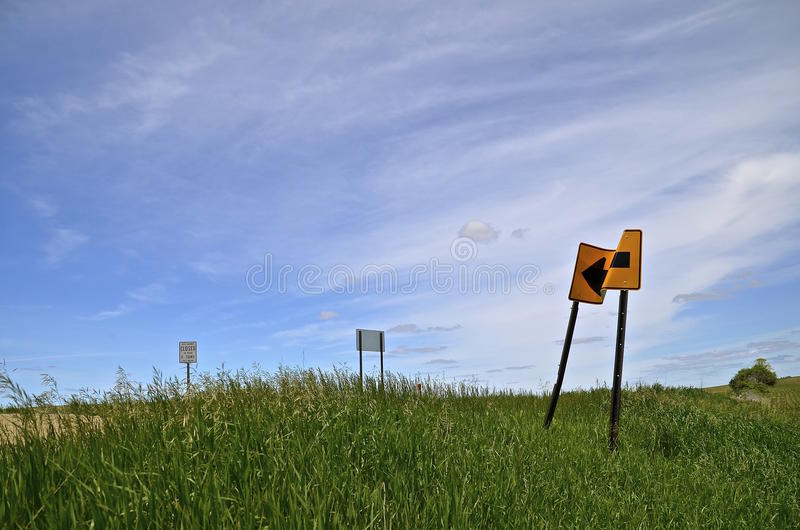 Crumpled road sign royalty free stock photos