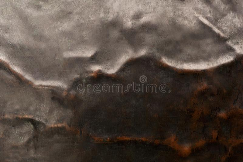 Crumpled and scratched steel and copper metal texture. Abstract background stock photography