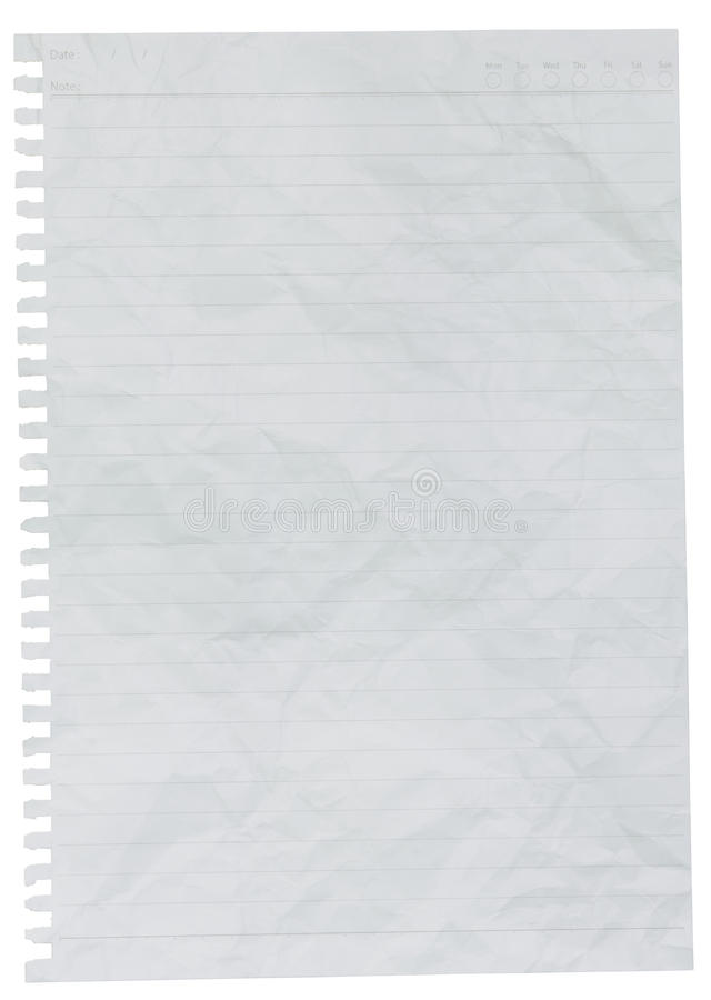 Crumpled Sheet Of Lined Paper Or Notebook Paper Stock ...