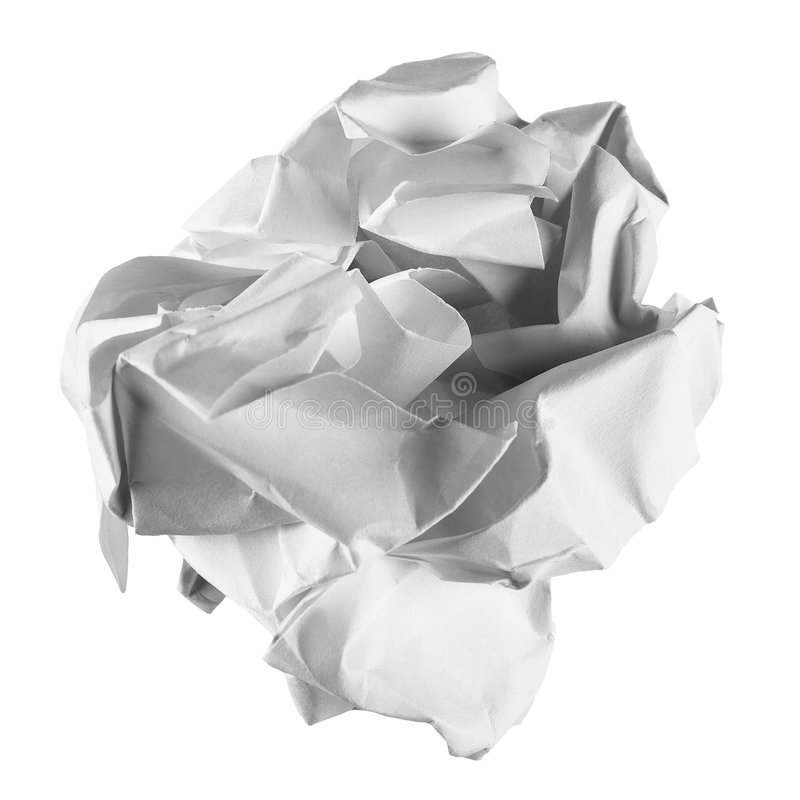 The crumpled sheet of paper. The clean sheet of a paper crumpled in a ball on a white background stock photography