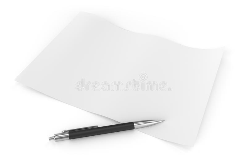 Download Crumpled Sheet and Pen stock illustration. Image of render - 36418504