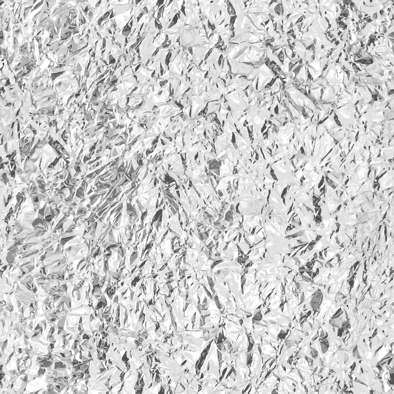 Crumpled silver foil. Seamless texture. Vector. Beckground stock illustration