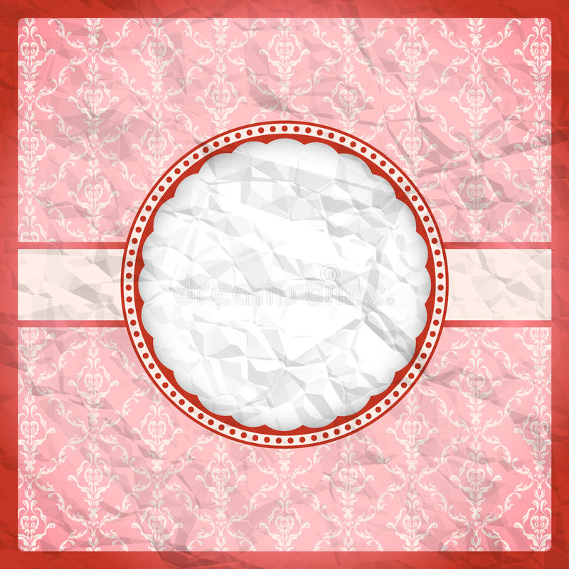 Crumpled vintage lace frame royalty free illustration