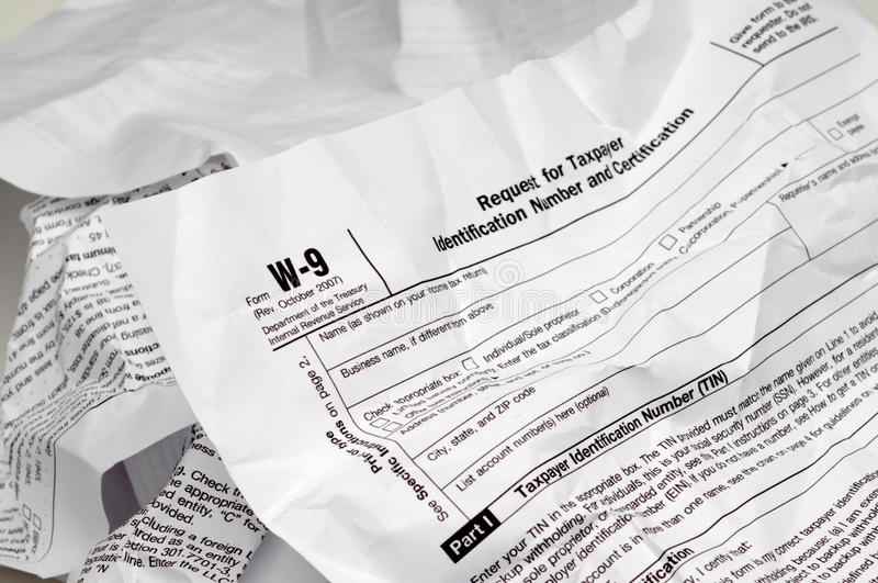 Download Crumpled W-9 Income Tax Form Stock Photo - Image: 12345476