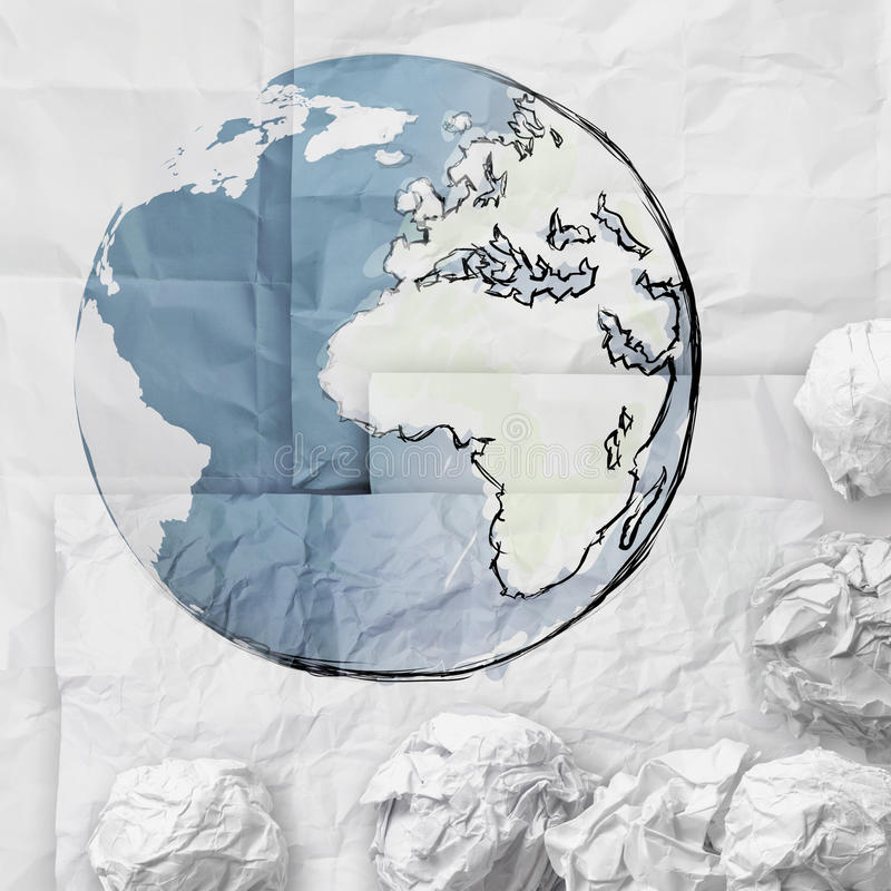 crumpled paper recycling map world