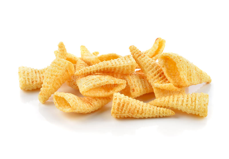 Crunchy corn snacks. On a white background stock photos