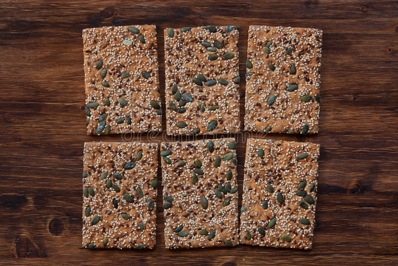 Download Crunchy Crispbread  On A Wooden Background Stock Photo - Image: 99210950