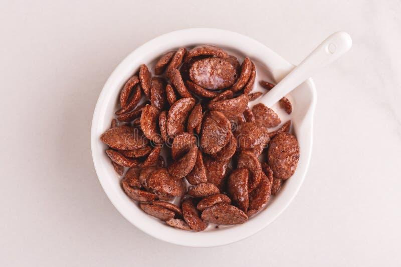 Crunchy czekoladowi kukurydzani płatki w pucharze z mlekiem obrazy stock