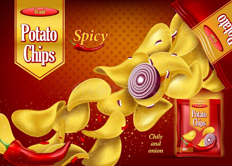 Spicy potato chips on package with onion, pepper. Crunchy 3d potato chips with onion and red chilli pepper. Realistic snack advertising and branding for pack or vector illustration