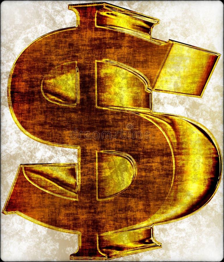 Crunchy dollar-sign. In 3D gold stock illustration