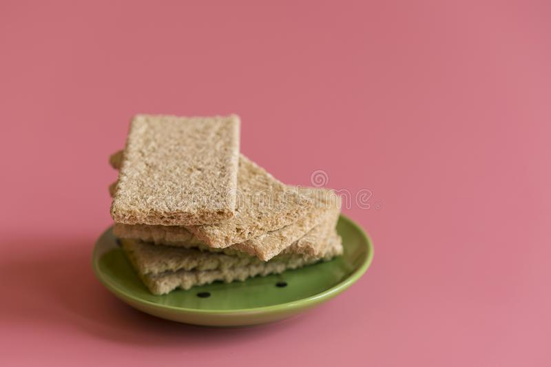 Crunchy loaves of bread. Concept of losing weight and healthy lifestyle.  royalty free stock photo