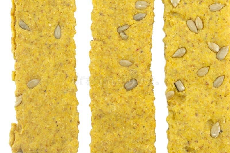 Crunchy owies cienieje z słonecznikowym tworzy wzorem na bielu zdjęcia royalty free
