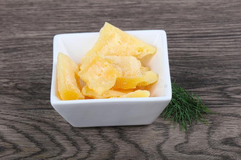 Crunchy parmesan cheese royalty free stock photo