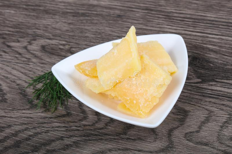 Crunchy parmesan cheese royalty free stock photography