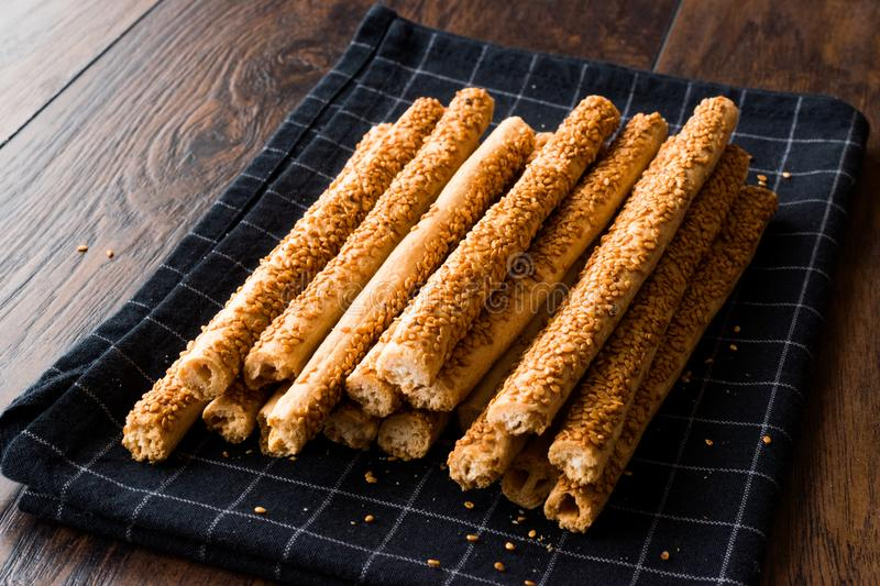 Crunchy Salty Pretzel Stick Crackers with Sesame. Traditional Food royalty free stock images