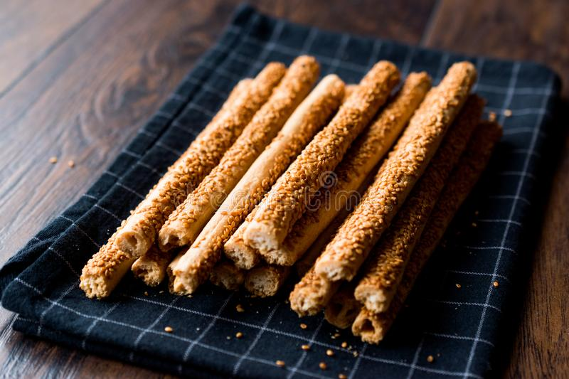 Crunchy Salty Pretzel Stick Crackers with Sesame. Traditional Food royalty free stock photo