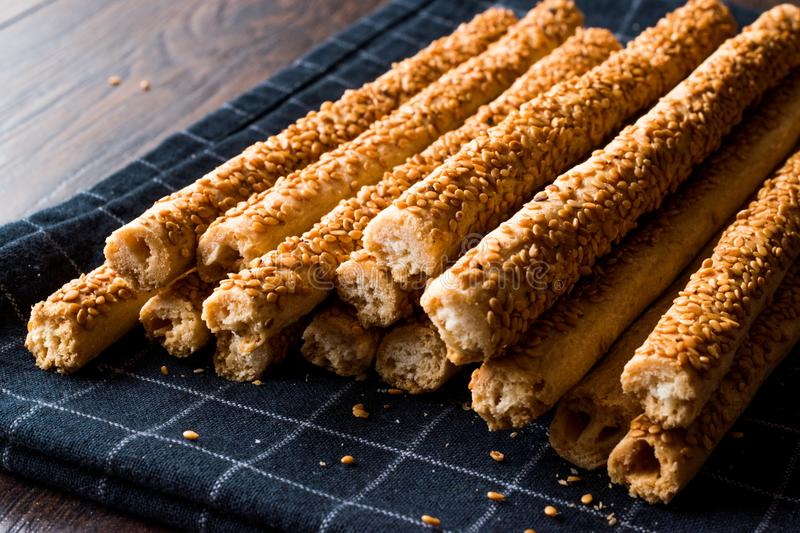 Crunchy Salty Pretzel Stick Crackers with Sesame. Traditional Food stock photography