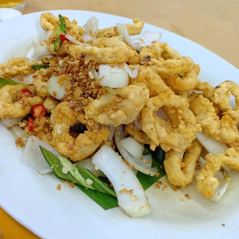 Deep Fried Squid stock image