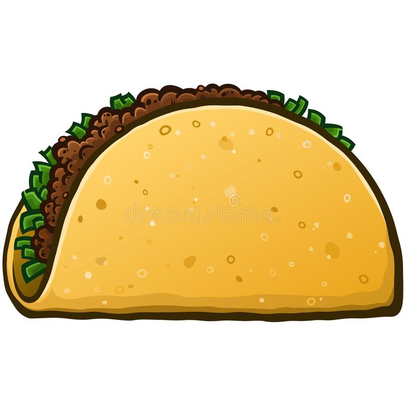 Crunchy Taco kresk?wki wektoru ilustracja ilustracji