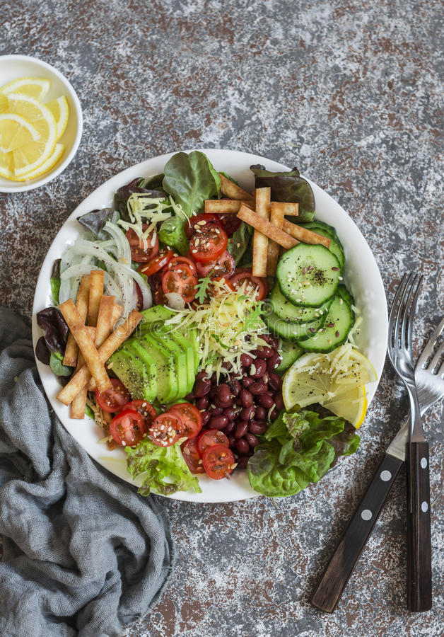 Crunchy taco vegetables salad bowl. Delicious food. Top view stock photo