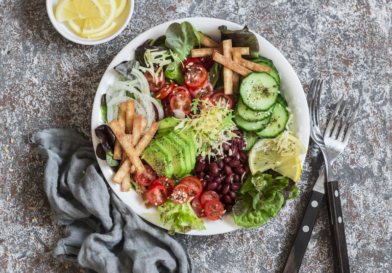 Crunchy taco vegetables salad bowl. Delicious food royalty free stock images