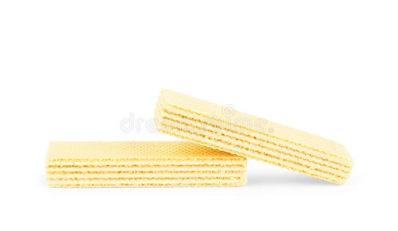 Crunchy vanilla waffles, isolated on a white background. Close-up.  stock images
