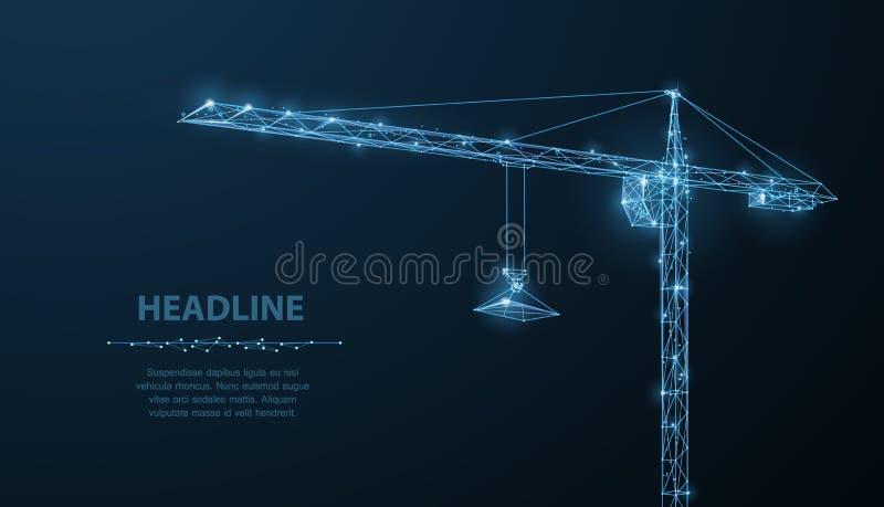 Crune Crune abstrato do wireframe do vetor em escuro - fundo azul ilustração royalty free