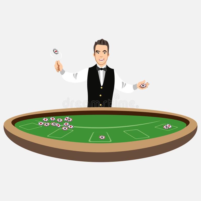 Crupié del casino con las fichas de póker libre illustration